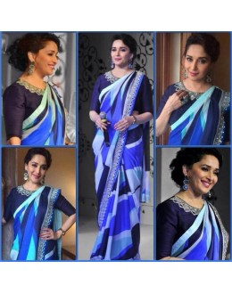 Bollywood Replica - Madhuri Dixit In Pretty Blue Printed Designer Saree - 336 (IB-501)