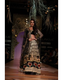 Bollywood Replica - Malaika Arora Black Lehenga At Walk The Ramp For LFW - 327 (IB-501)