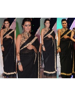 Bollywood Replica - Neha Dhupia Style Black Saree At TSR TV9 Awards - 320 (IB-501)