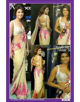 Bollywood Replica - Priyanka Chopra Sizzles In A Net Cream and Pink Saree - df-40 (IB-445)