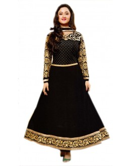 BLACK AND GOLDEN DESIGNER ANARKALI SUIT - KVYSFFR021005