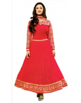 CARROT PINK AND GOLDEN DESIGNER ANARKALI SUIT - KVYSFFR021006