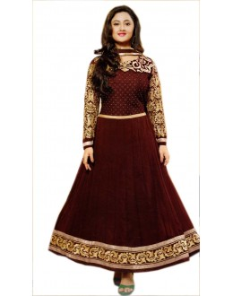 DARK BROWN AND GOLDEN DESIGNER ANARKALI SUIT - KVYSFFR021008