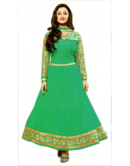 SEA GREEN AND GOLDEN DESIGNER ANARKALI SUIT - KVYSFFR021007