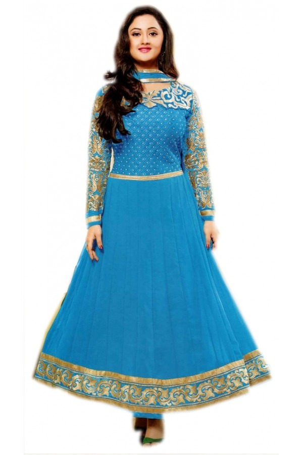 SKY BLUE AND GOLDEN DESIGNER ANARKALI SUIT - KVYSFFR021002