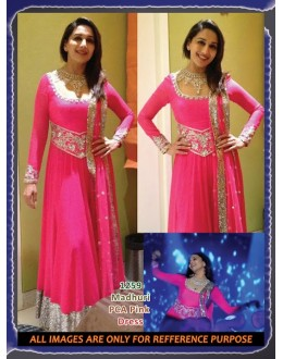 Wonderful Pink Dress Worn By Madhuri Dixit PCA Replica With Stone & Lace Work