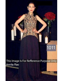 Bollywood Replica - Amrita Rao Velvet Black Embroidered Bollywood Style Dress - OM-1011