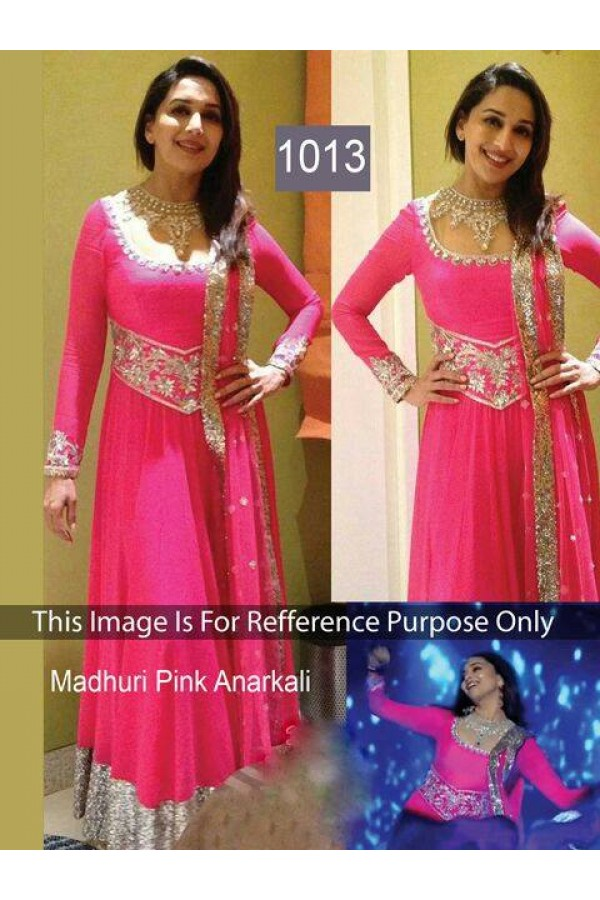Bollywood Replica - Madhuri Dixit Style Pink Heavy Embroidery Work Floor Length Anarkali Suit - OM-1013