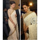 Bollywood Replica - Deepika Off White Saree At CNN IBN Awards (RDBS1366)