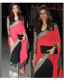Bollywood Replica - Karishma Tanna Black And Red Saree (RDBS1362)
