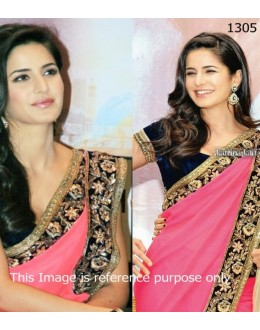 Bollywood Replica - Katrina Hot Pink Saree In Promoting Jab Tak Hai Jaan (RDBS1305)
