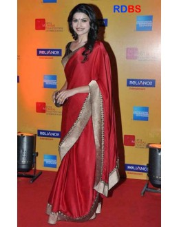 Bollywood Replica - Prachi Desai Red Designer Plain Saree (RDBS1354)