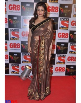 Bollywood Replica - Raveena Tandon Brown Saree At Sab Ke Satrangi Parivaar Award (RDBS1347)