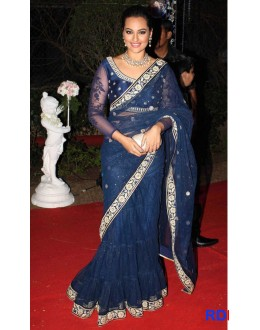 Bollywood Replica - Sonakshi Blue Lehenga Saree At Ahana Deol'€s Reception (RDBS1352)