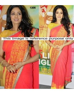 Bollywood Replica - Sridevi Style Designer Orange And Yellow Saree (RDBS1306)