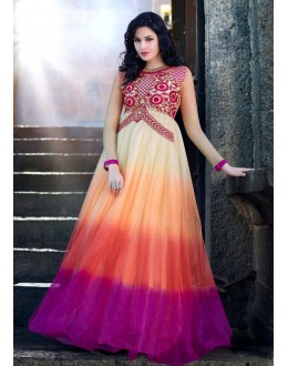 Beautiful Anarkali Style Soft Rasal Net Gown - 10009 Karishma (SD-10001)