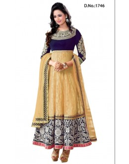 Heavy Designer Rakul Preet Beige Color Long Anarkali Suit - 1746-3 (SD-1746)
