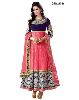 Heavy Designer Rakul Preet Pink Color Long Anarkali Suit - 1746-2 (SD-1746)