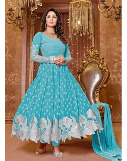 Heena Khan Designer Georgette Anarkali Suit - 601 (SD-Heena Colorful)