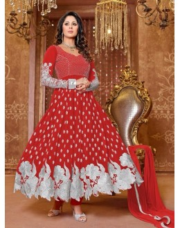 Heena Khan Designer Georgette Anarkali Suit - 604 (SD-Heena Colorful)