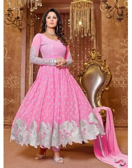 Heena Khan Designer Georgette Anarkali Suit - 606 (SD-Heena Colorful)