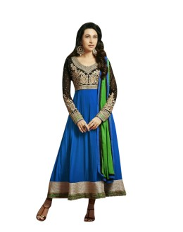 Karishma Kapoor Designer Cotton and Chiffon Anarkali Suit - 2005-Blue (SD-Ronak)
