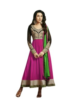 Karishma Kapoor Designer Cotton and Chiffon Anarkali Suit - 2005-Magenta (SD-Ronak)