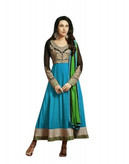 Karishma Kapoor Designer Cotton and Chiffon Anarkali Suit - 2005-Turquoise (SD-Ronak)