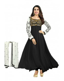 Karishma Kapoor Designer Georgette Anarkali Churidaar Suit - SD-30008-Black