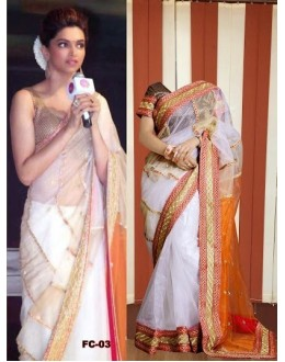 Bollywood Replica - Deepika Padukone Off White Georgette Saree - FC-3