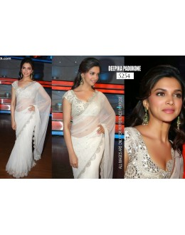 Bollywood Replica-Deepika Padukone Designer Pure Net White Party Wear Saree-5254(SIA -S-5200)