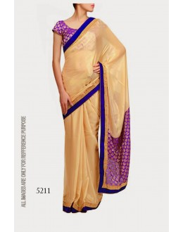Bollywood Replica-Designer Beautiful Blue Golden Purple Party Wear Saree- 5211(SIA -S-5200)