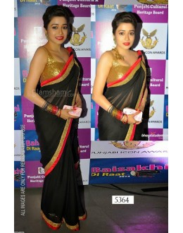 Bollywood Replica-Designer Beautiful Black With Red Border Party Wear Saree -5364(SIA -S-5300)