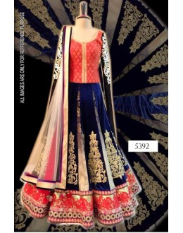 Bollywood Replica-Designer Blue & Red Heavy Bridal Velvet Lehenga Choli-5392(SIA -S-5300)