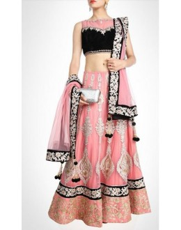 Bollywood Replica-Designer Dazzling Light Pink & Black Embroidered Lehenga Choli -5376(SIA -S-5300)
