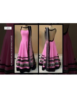 Bollywood Replica-Designer Elegant Pink Pure Net Party Wear Gown-5303( SIA-5300 )