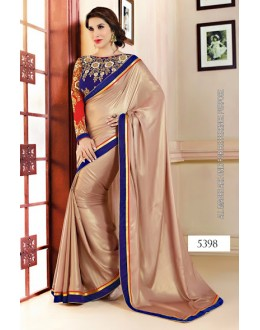 Bollywood Replica-Designer Fawn & Navy Blue Velvet Touch Party Wear Saree-5398(SIA -S-5300)