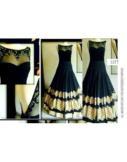 Bollywood Replica-Designer Glamorous Black Floor Length Party Wear Gown-5377(SIA -S-5300)