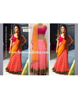 Bollywood Replica-Kareena Kapoor in Designer Pink & Orange Georgette Lehenga Choli -5354(SIA -S-5300)