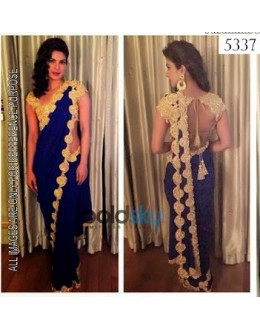 Bollywood Replica-Priyanka Chopra in Designer Blue & Gold Georgette Party Wear Saree-5337(SIA -S-5300)