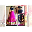 Bollywood Replica - Designer Embroidered Pink & Blue Pure Net Lehenga - 5403(SIA -S-5400)