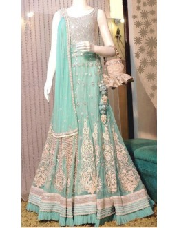Bollywood Replica-Designer Sky Blue & Silver Pure Net Heavy Worked Party Wear Gown-5435( SIA-5400 )