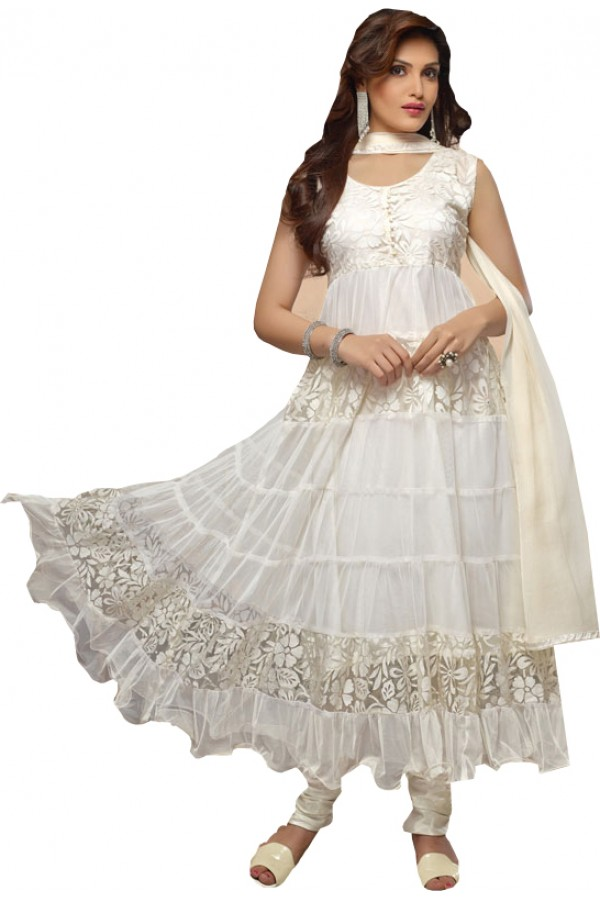 Stylish Designer Brasso White colour Anarkali Suit - (Karishma 08)