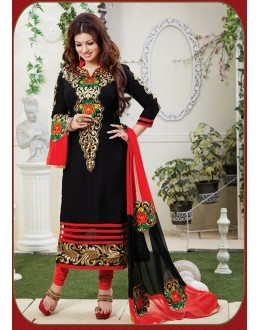 Ayesha Takia Designer Black & Red Embroidered Party Wear Straight Cut Suit-4002( SD-Fashions )
