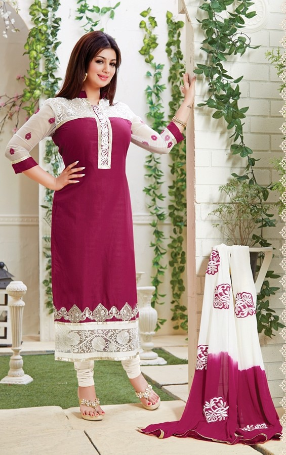 Ayesha Takia Designer Dark Pink & White Embroidered Party Wear Straight Cut Suit-4005 ( SD-Fashions )
