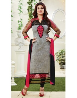 Ayesha Takia Designer Grey Embroidered Party Wear Long Straight Cut Suit-4105( SD-Fashions )
