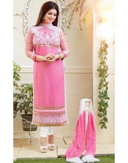 Ayesha Takia Designer Pink & White  Embroidered Party Wear Long Straight Cut Suit-4106( SD-Fashions )