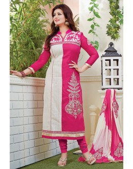Ayesha Takia Designer Rani Pink & Cream Embroidered Party Wear Straight Cut Suit-( SD-Fashions )