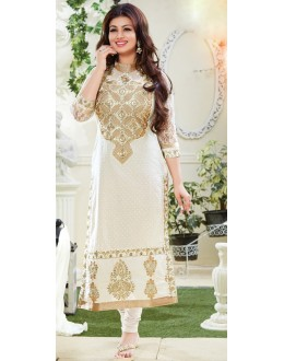 Ayesha Takia Designer White Embroidered Party Wear Long Straight Cut Suit-4104( SD-Fashions )