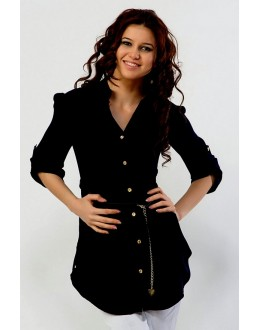 Fancy Readymade Black Western Wear Dress - 1021005